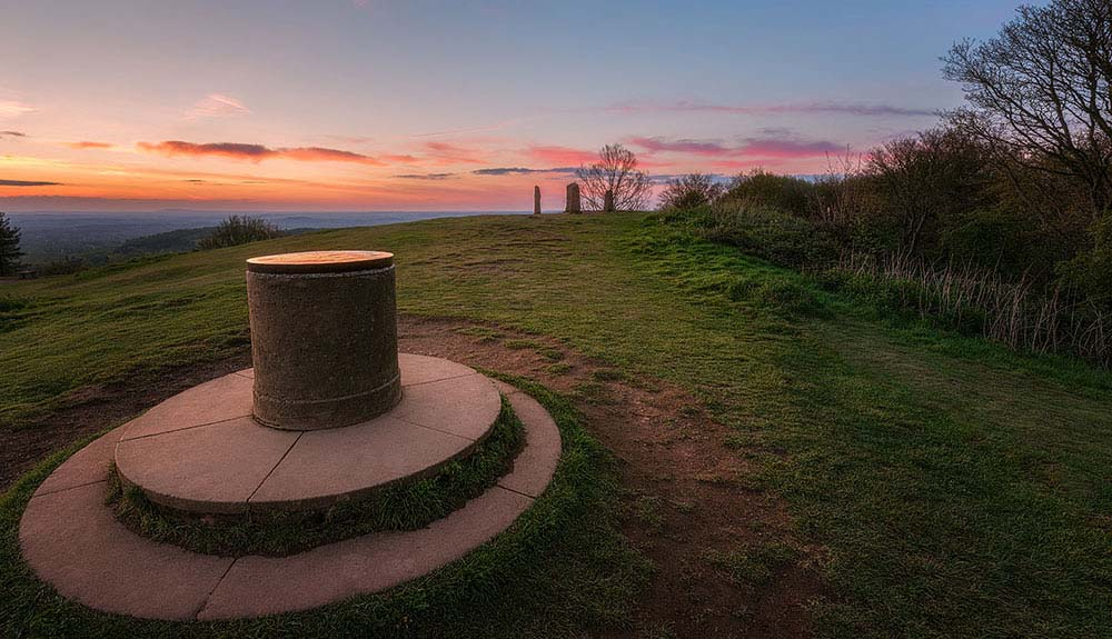 Clent hills toposcope and four stones.