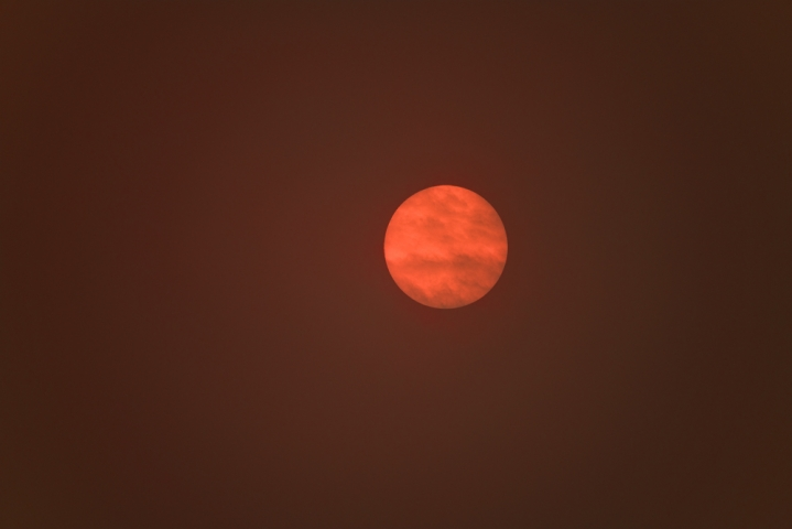 Red sun phenomenon caused by Hurricane Ophelia.