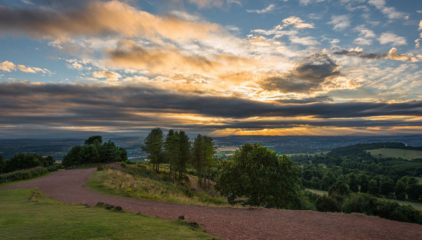 Sunset at Clent hills.